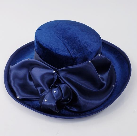 b772c734e48 DERBY ROYAL BLUE VELVET BOW HAT